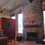 New great room with refaced fireplace